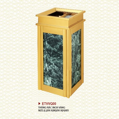 Thùng rác inox vàng giả đá