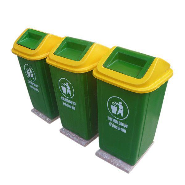 Mua thùng rác nhựa 90 lít đế đá dùng cho công viên