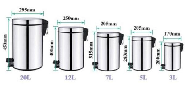Mua thùng rác phù hợp cần quan tâm đến kích thước