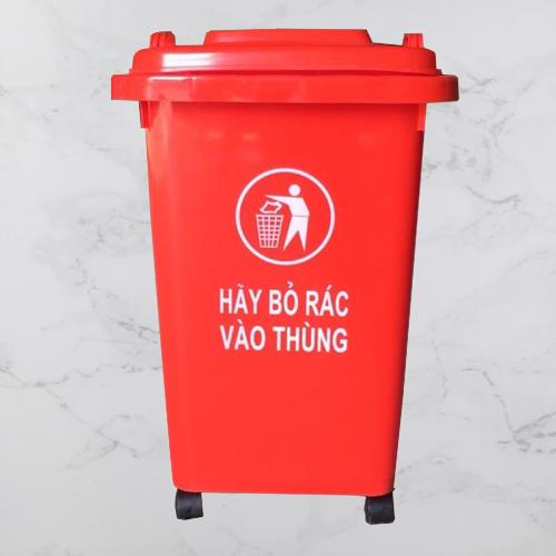 Thùng rác nhựa màu đỏ