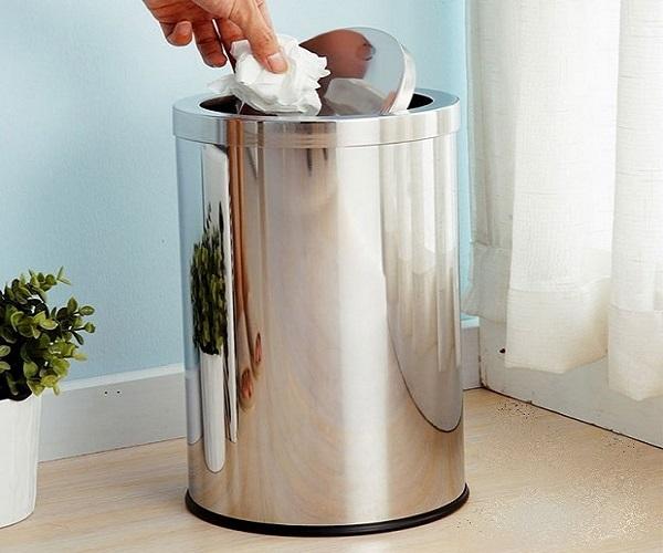 Thùng rác inox nắp bập bênh có độ bền cao, sử dụng tiện lợi