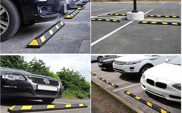 Cao su chèn bánh xe ô tô được lắp đặt tại nhiều bãi đậu xe