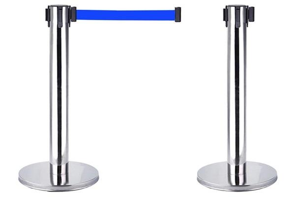 Cột chắn inox dây kéo màu xanh, cột chắn inox trắng dây kéo đỏ cao cấp