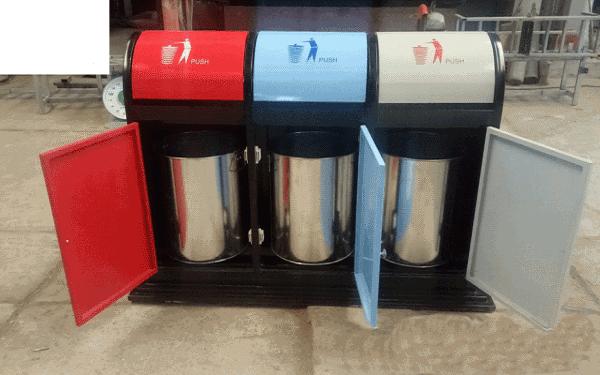 Thùng rác inox 3 ngăn đựng rác và phân loại rác hiệu quả