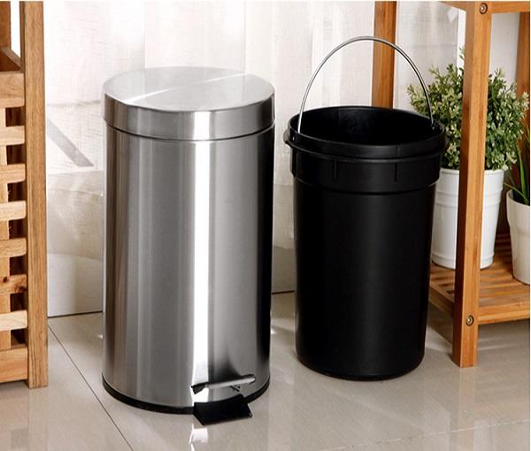 Thùng rác inox 30 lít đựng rác thải hiệu quả ở nơi công cộng