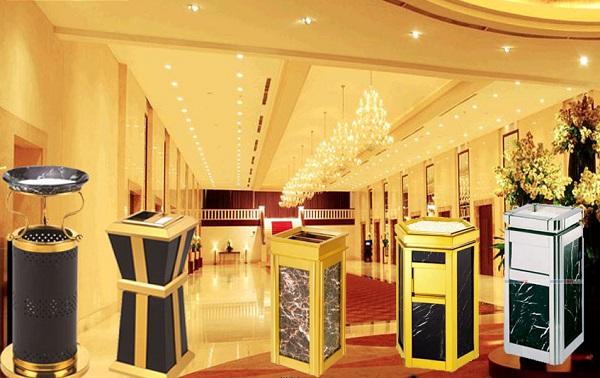 Thùng rác đá inox hoa cương tăng thêm phần sang trọng cho khách sạn