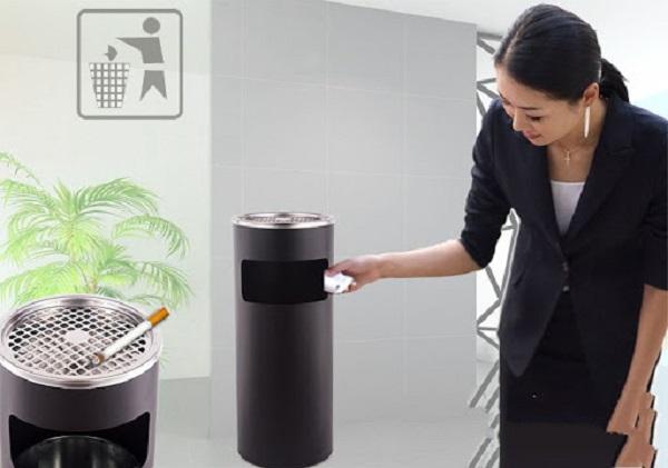 Thùng rác inox gạt tàn sử dụng ở nhiều nơi: văn phòng, nhà ở, khachs ạn,...