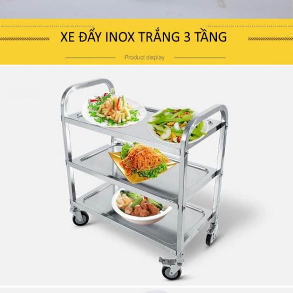 Xe inox 3 tầng vận chuyển được nhiều đồ ăn