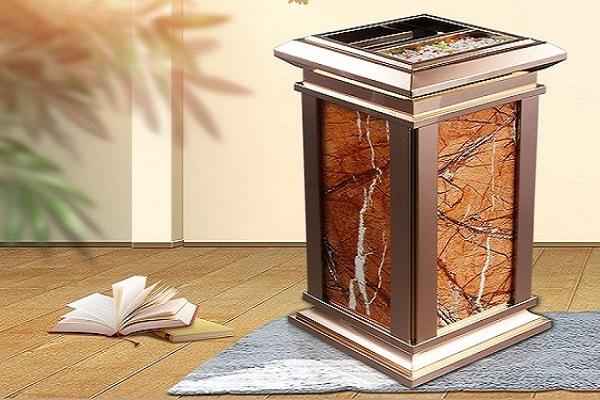 Thùng rác inox đá hoa cương trang trí cho sảnh khách sạn thêm sang trọng