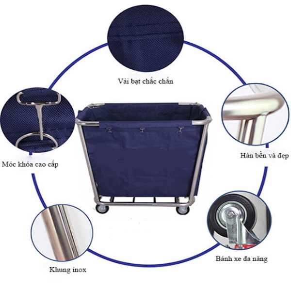Xe thu gom đồ vải có thiết kế ưu việt giúp cho việc dọn dẹp phòng nhanh chóng hơn