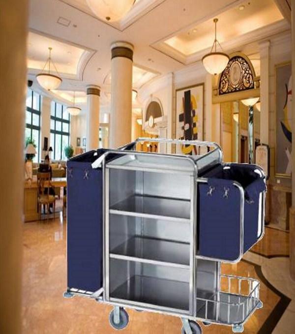 Xe trolley vệ sinh khách sạn bằng inox phù hợp với không gian nhiều khách sạn