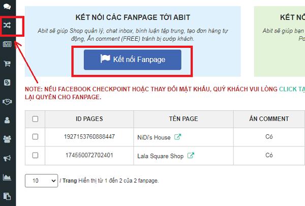 Thiết lập kết nối Fanpage với phần mềm quản lý bán hàng Abit