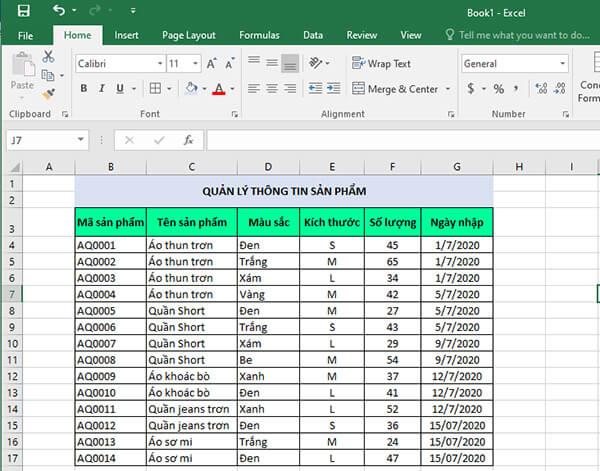 Quản lý đơn hàng bằng Excel