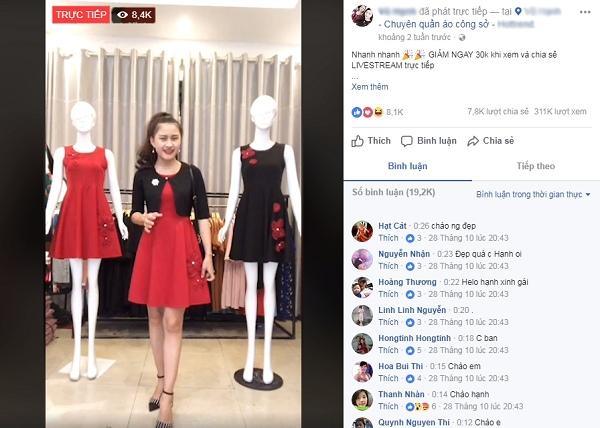 Phát trực tiếp trên Facebook shop thời trang