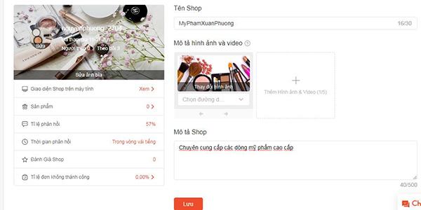 Thiết lập shop bán hàng trên Shopee
