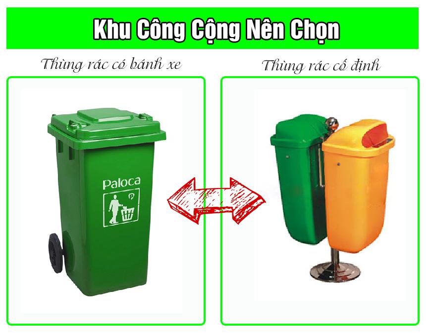Nên sử dụng thùng rác cố định hay thùng rác có bánh xe
