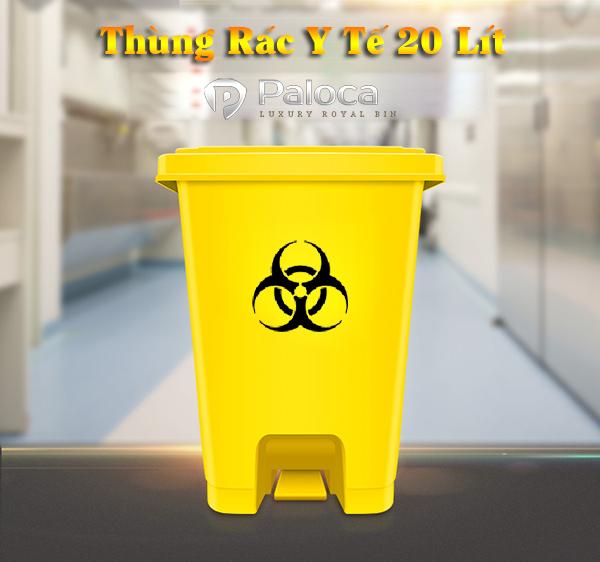 Thùng rác y tế đựng khẩu trang và gang tay đã qua sử dụng