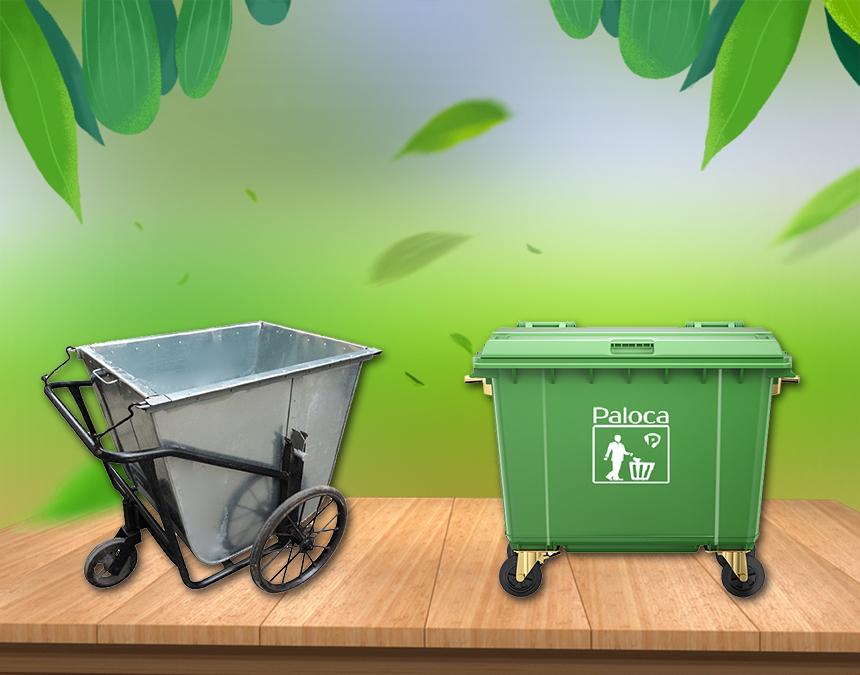 Chọn mua xe gom rác bằng nhựa hay bằng tôn?