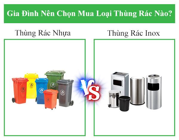 Gia đình nên chọn thùng rác nhựa hay thùng rác inox?