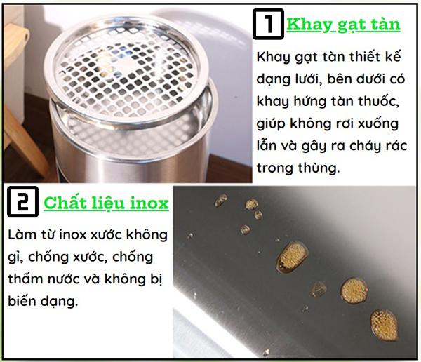 Đặc điểm của thùng rác inox gạt tàn