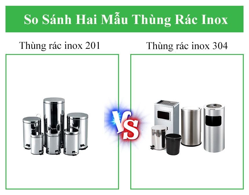 Điểm khác biệt của thùng rác inox 304 với inox 201