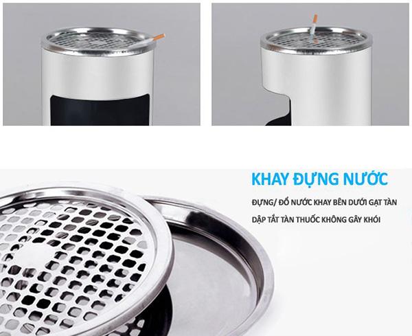 Giảm thiếu việc hút thuốc bằng thùng rác inox có gạt tàn